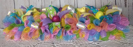 Spring Easter Deco Mesh Centerpiece / Wreath with Ribbon, Chicks and Eggs in Camp Lejeune, North Carolina