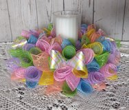 Spring Easter Deco Mesh Candle Holder Centerpiece in Pastels in Camp Lejeune, North Carolina
