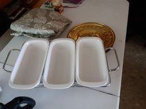 4 piece serving tray has candles under to keep food warm in Alamogordo, New Mexico