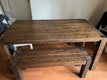 Farmhouse table with two benches in Beaufort, South Carolina