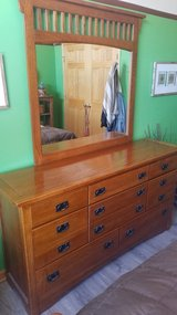 8 Drawer Oak Dresser with Matching Mirror in Naperville, Illinois