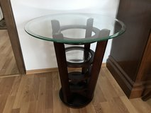 2 End Tables Dark Wood with Beveled Glass Top in Wiesbaden, GE