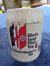 Beer mug, stoneware with special label in Ramstein, Germany