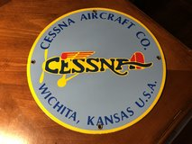 Vintage Cessna Aircraft Co. Wichita, Kansas - Gasoline and Oil Porcelain Sign in Naperville, Illinois