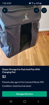 Diaper storage for pack and play in Fort Leonard Wood, Missouri