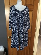 """""""Fresh Produce"""" Long Sleeved Blue Print Dress - 1X in Naperville, Illinois"""
