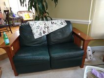 Mission Style Two 3 Seater Couches and a Loveseat Dark Green with Recliners in Naperville, Illinois