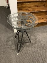 Glass Top Movie Reel Accent Tables in Naperville, Illinois