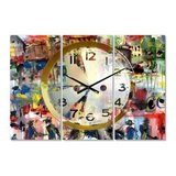 Modern 3 Panels Oversized Wall Clock - 36 in. wide x 28 in. high - 3 panels in Bellaire, Texas