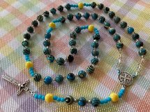 Catholic Rosary Fordite Beads Czech and Glass Spacers Benedictine Medal and Crucifix of Italian ... in Kingwood, Texas