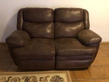 Soft Brown Leather Dual Reclining Loveseat in Ramstein, Germany