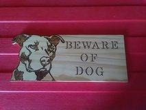 beware of dog sign in Fort Campbell, Kentucky