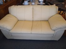 Cream Faux Leather Loveseat in St. Charles, Illinois