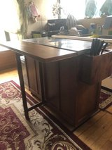 Rolling Kitchen Island - Stainless Steel w/wooden drop leaf bar in Okinawa, Japan