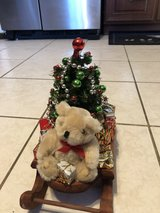 Christmas sleigh with bear tabletop decoration in Bolingbrook, Illinois