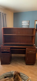 sturdy wood computer work desk removable shelves & storage cabinets in Plainfield, Illinois