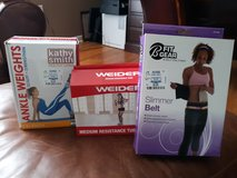 Ankle weights, tension rope, waist  belt, 3# handweights: all in great condition or NEW! in Warner Robins, Georgia