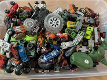 Box of cars and toy characters in Miramar, California