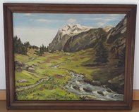 Oil Painting, Mountains and Stream in Baumholder, GE