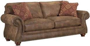 "Broyhill Brown ""Leather Look"" Couch, very good condition in Fort Belvoir, Virginia"