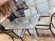 Lawn Table & 4 Chairs & Matching Umbrella Holder Under the Table plus Lounger in Alamogordo, New Mexico