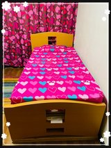 """""""Twin bed with wooden platform/headboard/slat support/box covered in one piece"""" in Okinawa, Japan"""