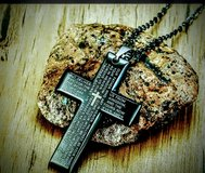 Black Stainless Steel Cross with bible scripture in Bellaire, Texas