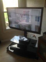 "TV stand with 46"" Sharp TV in Naperville, Illinois"