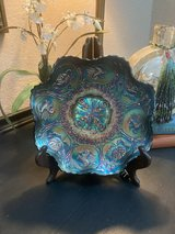 Reduced to $25 Blue Peacock Ruffled Bowl in Spring, Texas