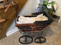 Vintage Baby Doll Pram Carriage Stroller Wicker and Original Canvas Wood Wheels with a baby and ... in Naperville, Illinois