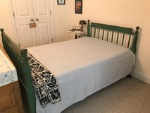Great farmhouse green (antique paint) painted 3/4 bed with mattress and antique trundle bed (sin... in Camp Lejeune, North Carolina