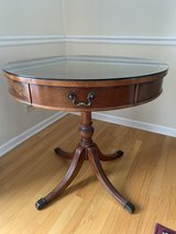 Antique Drum Top Table with Leather Inset in Algonquin, Illinois