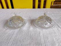 Pair of gorgeous glass butter or cheese dome dishes in Lakenheath, UK