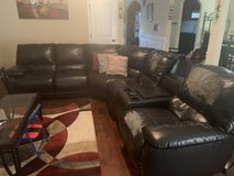 Dark Brown Leather Sectional in Fort Campbell, Kentucky