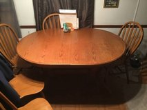 Beautiful solid wood table 60x42 w/leaf & 5 chairs in 29 Palms, California