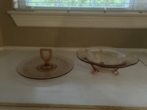 """new discount $5 each Pink Depression Glass Tidbit Server """"OR"""" Tulip footed bowl in The Woodlands, Texas"""