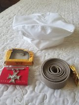 USMC dress hat cover, New sharpshooter badge and a new belt with buckle in Camp Pendleton, California