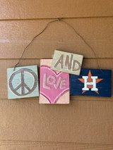 """reduced to $8 Rustic painted """"Peace, love and Astros"""" in The Woodlands, Texas"""