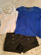 Express brand button front shorts size 4 and cute stretchy tops in Camp Pendleton, California