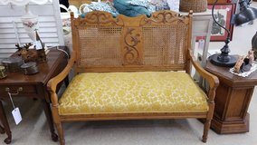 Oak Settee with Gold Chenille Fabric #1265-6272 in Camp Lejeune, North Carolina