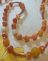 Lasso Wedding Rosary 2021 Colors Orange Striped Agate New Design Medal and Crucifix Silver One o... in Kingwood, Texas