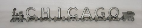 Vintage FORT Pewter Train CHICAGO - 7 Letters + Engine & Caboose in Joliet, Illinois