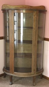 Vintage Amish Oak Curved Glass Curio in Westmont, Illinois