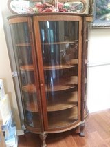 Antique Bow Front Curio Cabinet With 4 Shelves & Glass Doors in The Woodlands, Texas