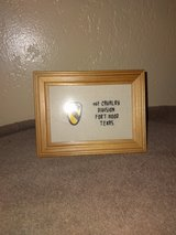 New ... 6 x 5 inches framed cross stitched picture • only the writing is stitched  w/1st CAV decal in Fort Hood, Texas