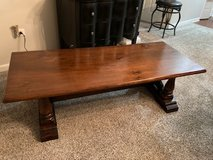 Coffee table with trestle legs, Solid wood Rustic farmhouse style, mahogany color. in Algonquin, Illinois