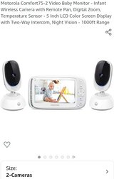 """Motorola 5"""" Comfort75-2 Video Baby Monitor w/2 Cameras & Remote, Tilt And Zoom. in Fort Lewis, Washington"""