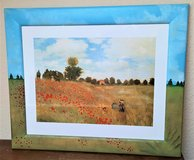 Claude Monet art print / glass with wooden frame handpainted in Spangdahlem, Germany