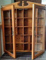 Old hanging showcase, type case, wooden facet cut glass doors-good condition in Spangdahlem, Germany