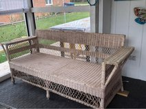 wicker couch with cushions in St. Charles, Illinois